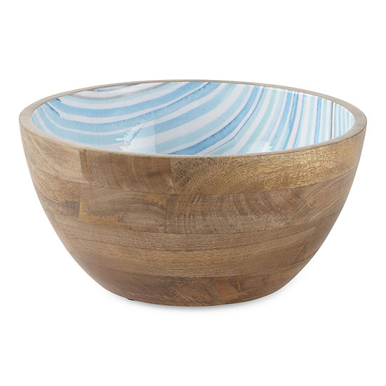 Outdoor Oasis Stripe And Wood Serving Bowl