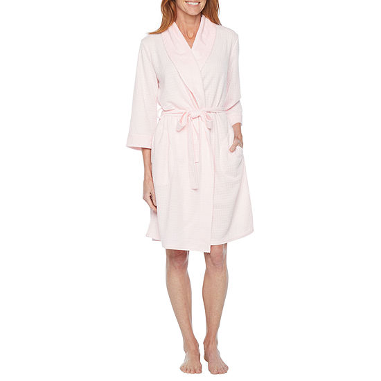 Liz Claiborne Womens Long Sleeve Mid Length Knit Robe