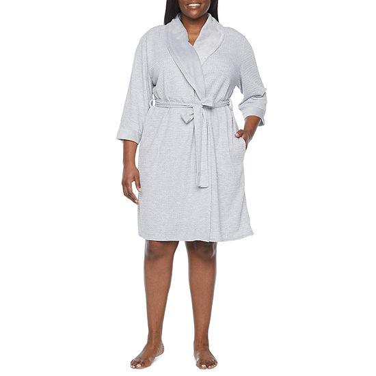 Liz Claiborne Womens-Plus Knit Robe 3/4 Sleeve Knee Length