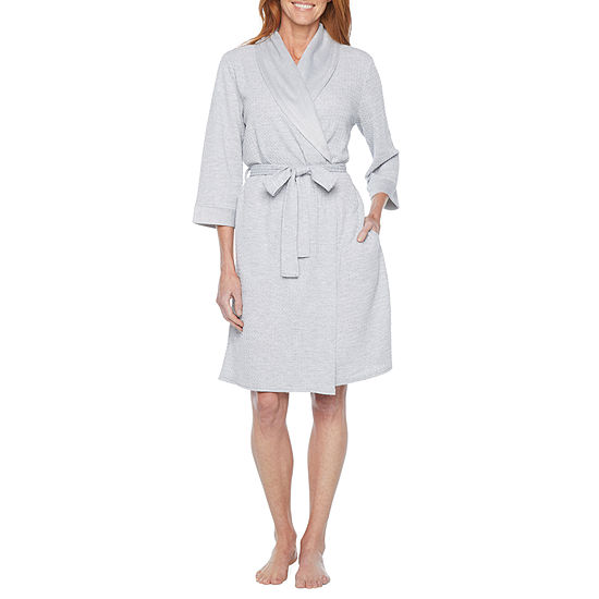 Liz Claiborne Womens Knit Robe 3/4 Sleeve Knee Length
