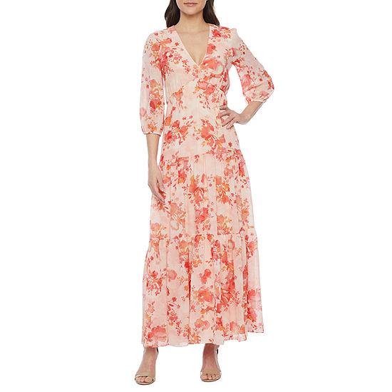 Bleecker 126 3/4 Sleeve Floral Maxi Dress
