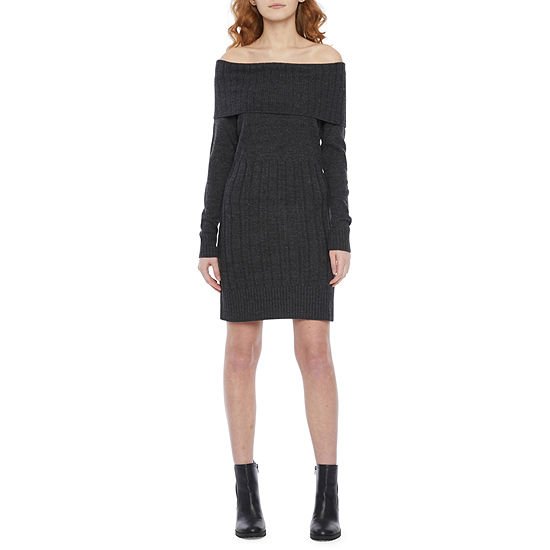 by&by-Juniors Long Sleeve Sweater Dress