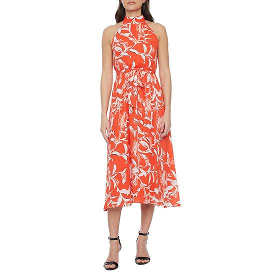 Worthington Sleeveless Floral Midi A-Line Dress