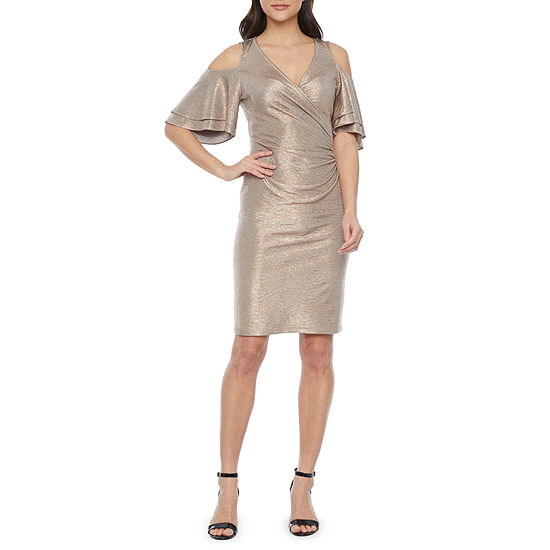 MSK Short Tiered Sleeve Cold Shoulder Sheath Dress