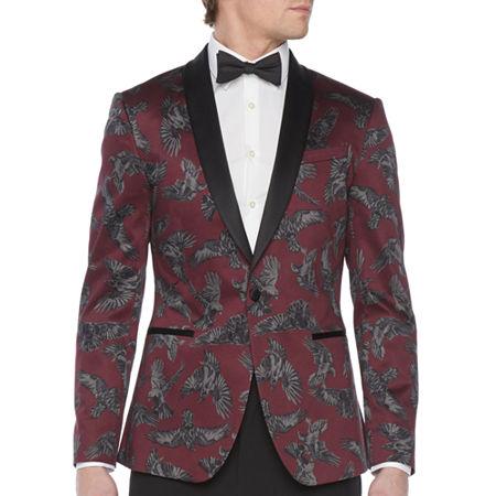 New Vintage Tuxedos, Tailcoats, Morning Suits, Dinner Jackets JF J.Ferrar Mens Stretch Super Slim Fit Tuxedo Jacket - Super Slim 42 Regular Red $58.80 AT vintagedancer.com