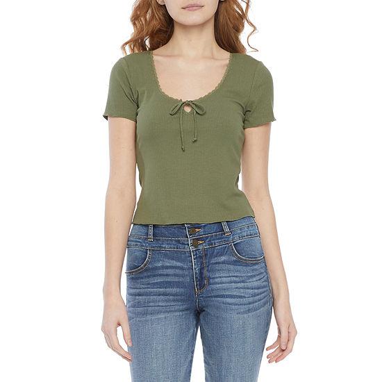 Belle Du Jour Juniors Womens Scoop Neck Short Sleeve T-Shirt