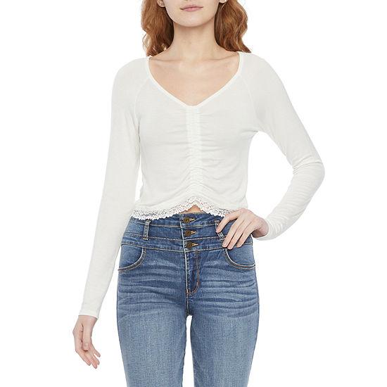 Belle Du Jour Juniors Womens V Neck Long Sleeve T-Shirt