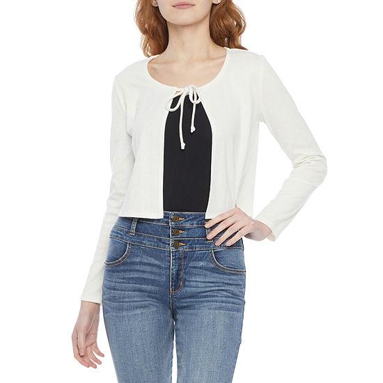 Belle Du Jour Juniors-Womens Open Neck Long Sleeve T-Shirt