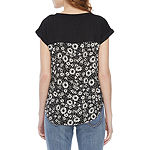 Rewind Juniors Womens Crew Neck Short Sleeve T-Shirt