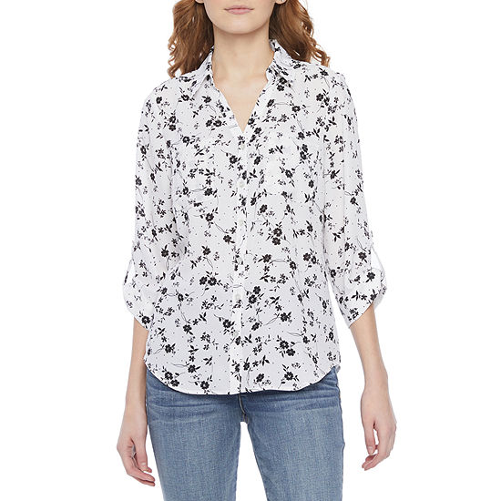 by&by-Juniors Womens 3/4 Sleeve Blouse