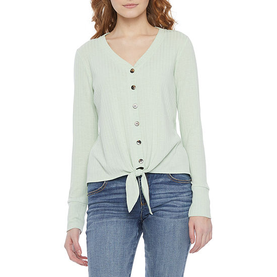 by&by-Juniors Womens V Neck Long Sleeve Knit Blouse