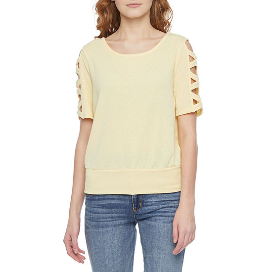 by&by-Juniors Womens Round Neck Short Sleeve Knit Blouse