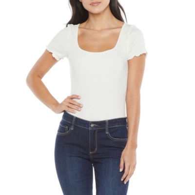Arizona Womens Juniors Square Neck Short Sleeve Bodysuit