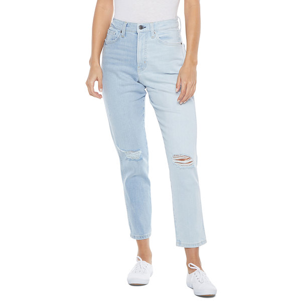 Arizona - Juniors Womens High Rise Mom Straight Leg Jean