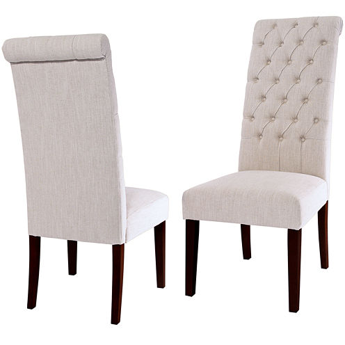 Milana Set of 2 Tufted Roll-Top Dining Chairs
