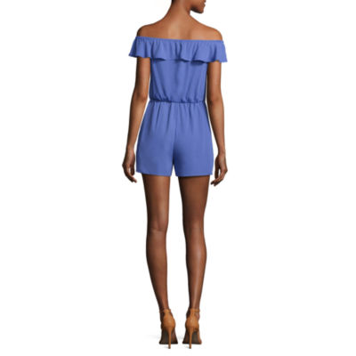 Decree Off The Shoulder Ruffle Romper - Juniors