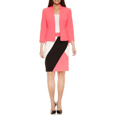 jcpenney.com | Black Label by Evan-Picone 3/4 Sleeve Open Jacket with Colorblock Pencil Skirt