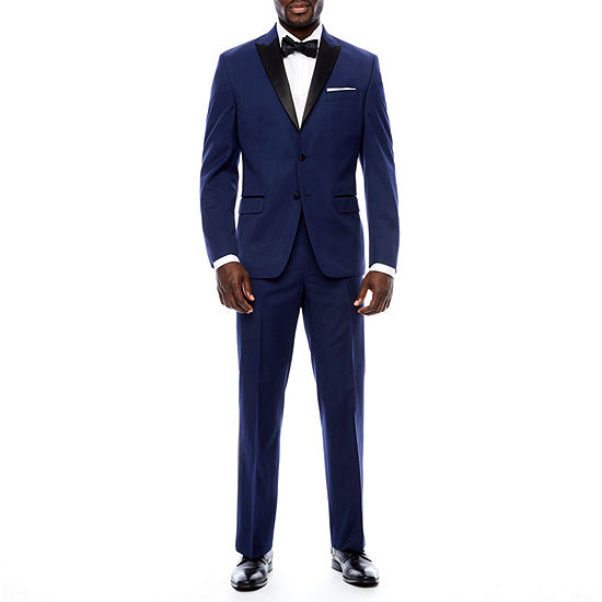 Collection by Michael Strahan Satin Peak Lapel Navy Tuxedo- Classic Fit