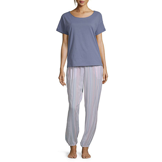 Ambrielle Womens Short Sleeve 2-pc. Pant Pajama Set -Average Figure
