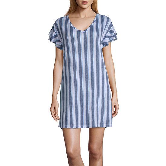 Laura Ashley Knitted Gauze Womens Knit Nightshirt Short Sleeve