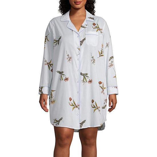 77d85d6a2e422 Liz Claiborne® Plus Size Notch Collar Nightshirt - JCPenney