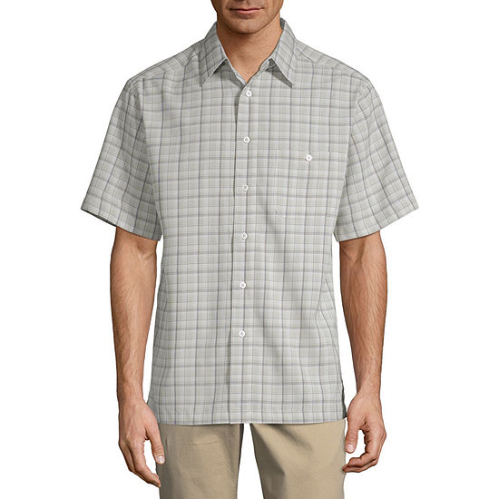 Haggar Mens Short Sleeve Cooling Plaid Button-Front Shirt
