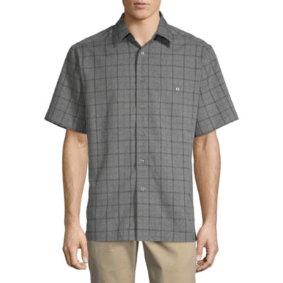 Haggar Mens Short Sleeve Button-Front Shirt Big and Tall