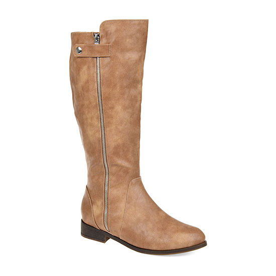 Journee Collection Womens Kasim Wide Calf Stacked Heel Zip Riding Boots