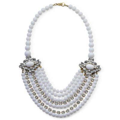 White Bead & Crystal 7-Row Necklace