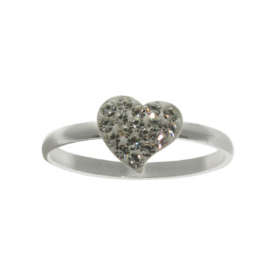Pure Silver-Plated Clear Crystal Heart Ring
