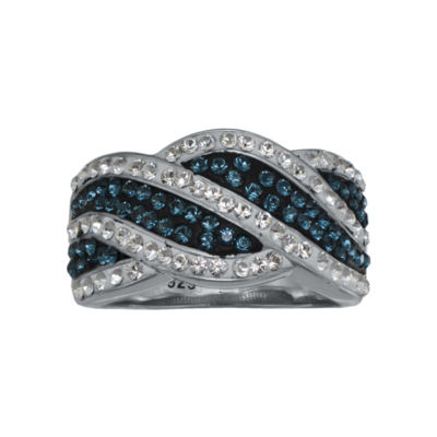 Blue & White Crystal Swirl Ring Sterling Silver