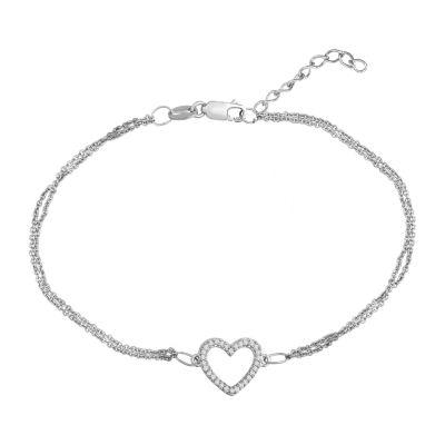 1/10 CT. T.W. Diamond Sterling Silver Mini Heart Bracelet