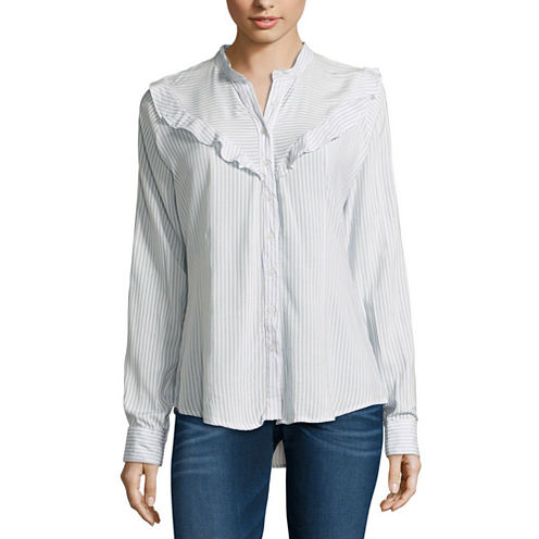 Almost Famous Long Sleeve Rayon Stripe Blouse-Juniors