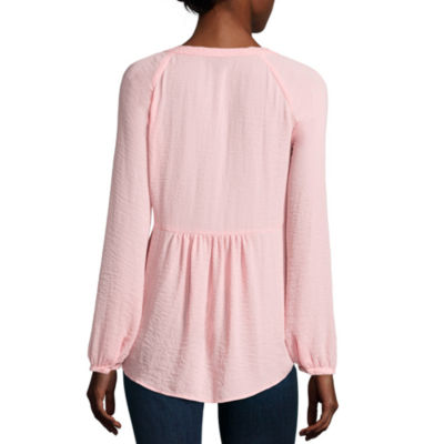 a.n.a Long Sleeve Scoop Neck Woven Blouse-Petites