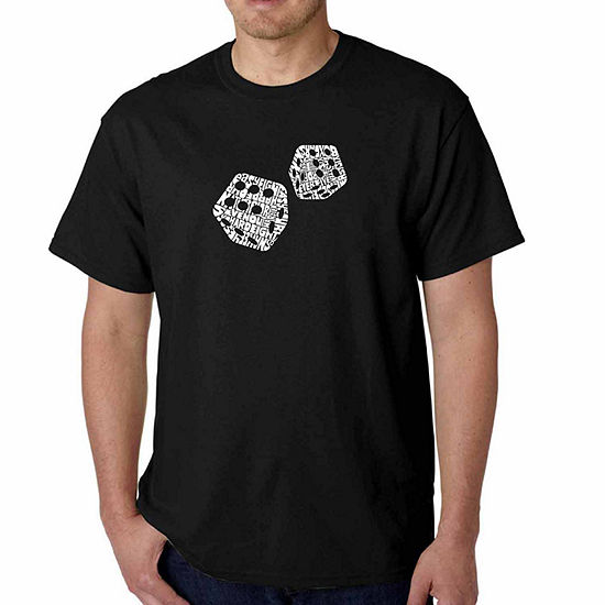 Los Angeles Pop Art Different Rolls Thrown in theGame of Craps Short Sleeve Word Art T-Shirt - Bigand Tall