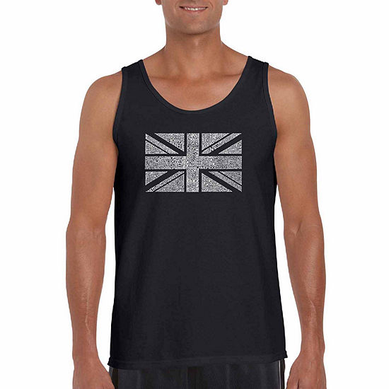 "Los Angeles Pop Art ""Me Union Jack"" Word Art Tank Top- Men's Big and Tall"