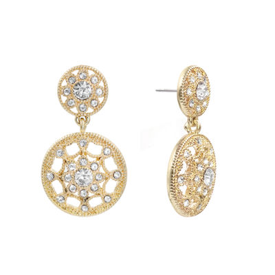 Monet Jewelry White Circle Drop Earrings