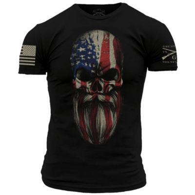 Grunt Style American Beard Skull Graphic T-Shirt