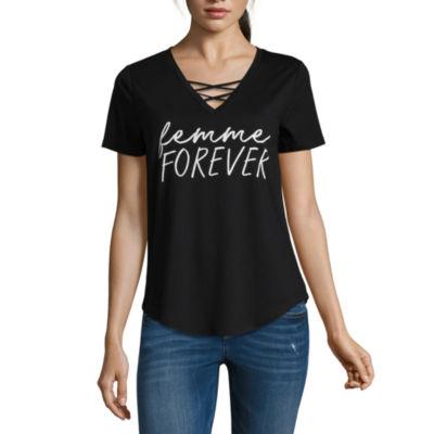 """""""Femme Forever"""" Criss Cross Tee - Juniors"""
