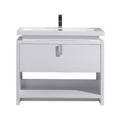 """Moreno Bath Levi 40"""" Free Standing Modern BathroomVanity with Cubby Hole and Acrylic Sink"""""""