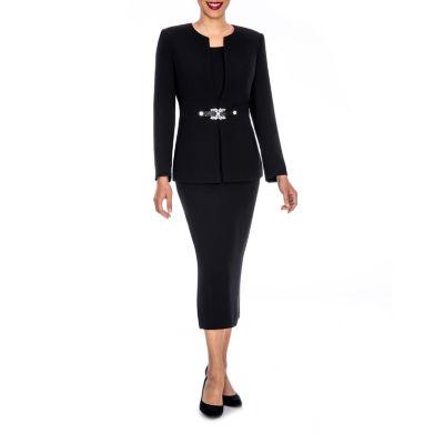 Giovanna Signature Women's Rhinestone Brooch 3-piece Skirt Suit