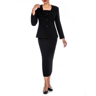 Giovanna Signature Women's Mock 3-piece Bow Collar Skirt Suit