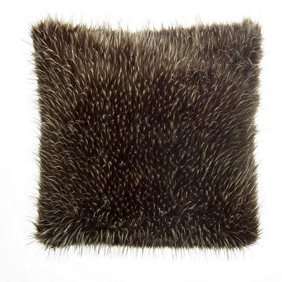 """West Park Faux Fur Acrylic 24"""" Square Throw Pillow"""