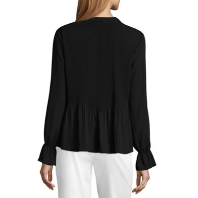 Liz Claiborne Long Sleeve Pleated Blouse