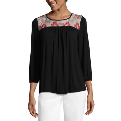 Liz Claiborne 3/4 Sleeve Embroidered Knit Top-Womens