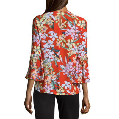Fundamental Things 3/4 Bell Sleeve Crepe Blouse