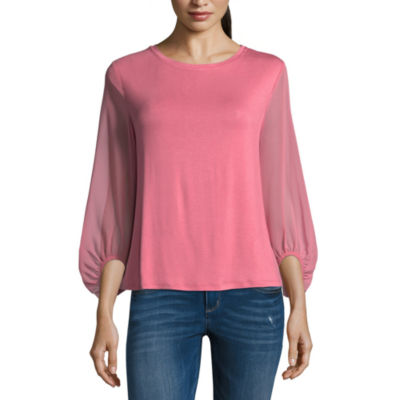 T.D.C Puffed Sleeve Knit-To-Woven Blouse