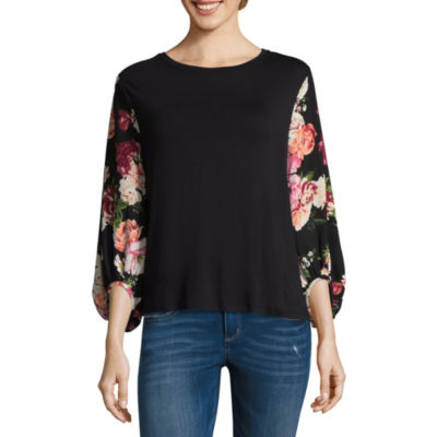 T.D.C Puffed Sleeve Knit-To-Woven Top