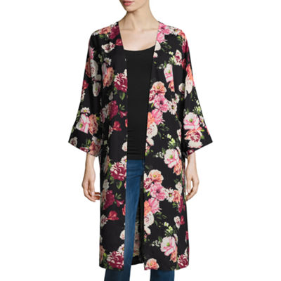 TDC 3/4 Sleeve Floral Kimono - One Size Fit Most