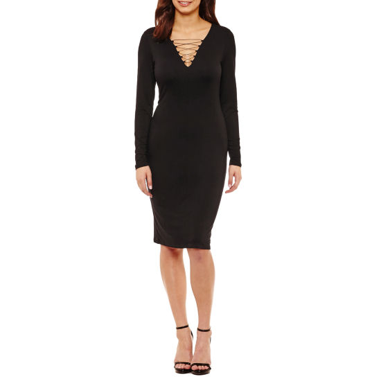 Bold Elements Long Sleeve Lace Up Dress